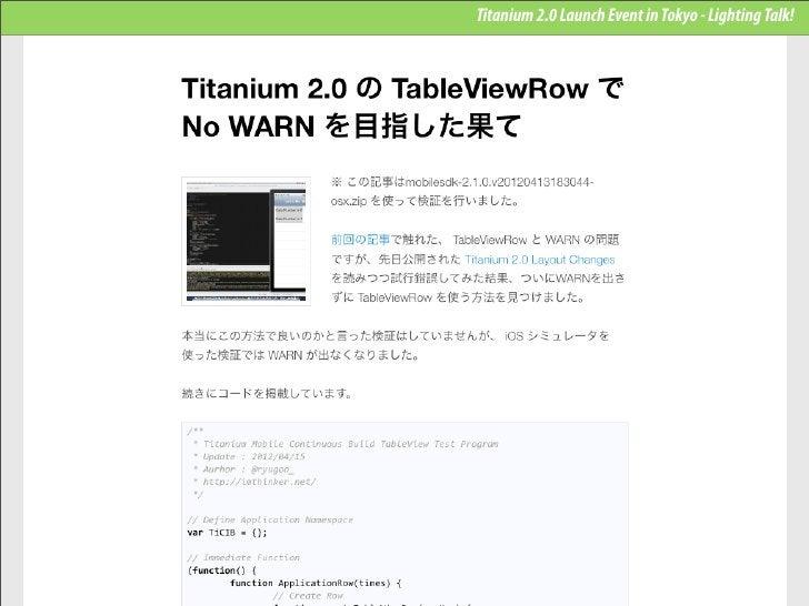 Titanium 2.0 Launch Event in Tokyo - Lighting Talk!