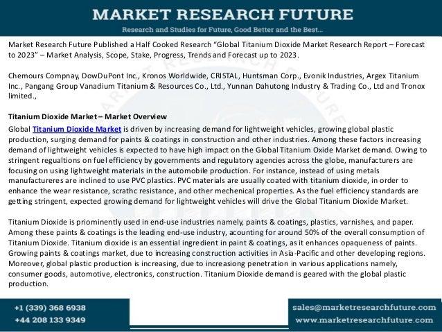 Titanium Dioxide Market 2018: Trends, Key Vendors Analysis