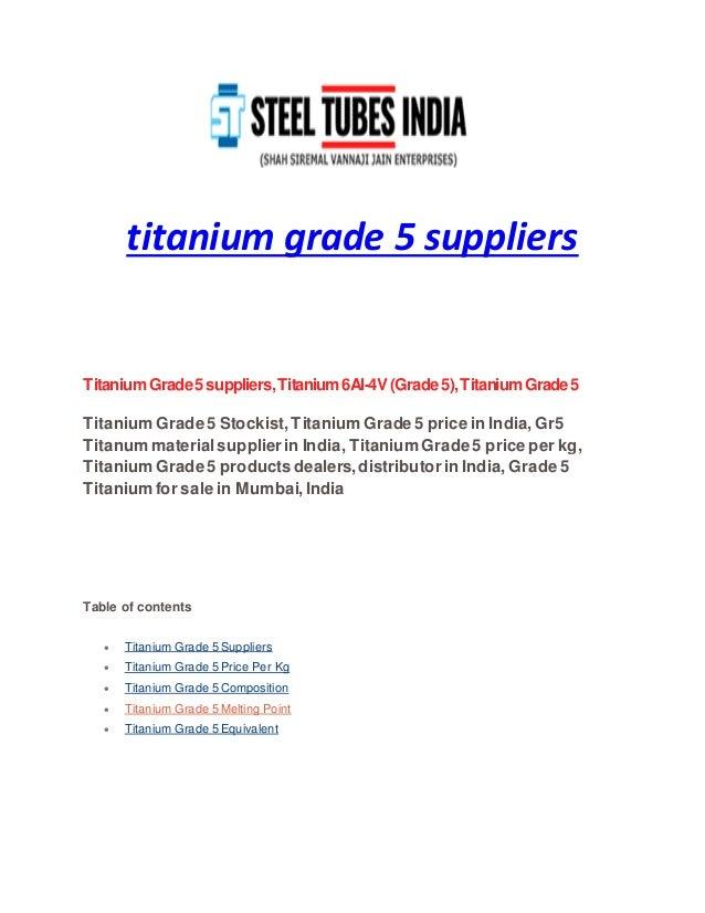 Titanium grade 5 suppliers