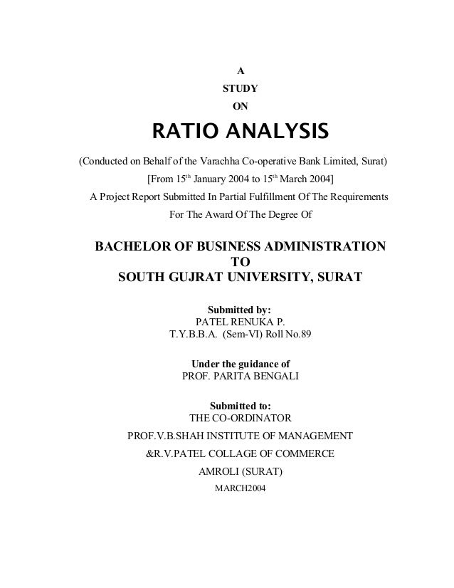 A                                STUDY                                   ON                RATIO ANALYSIS(Conducted on Beh...