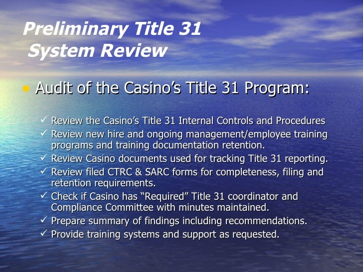 Title 31 Program Outline
