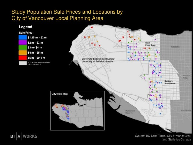 Study Population Sale Prices and Locations by City of Vancouver Local Planning Area Source: BC Land Titles, City of Vancou...