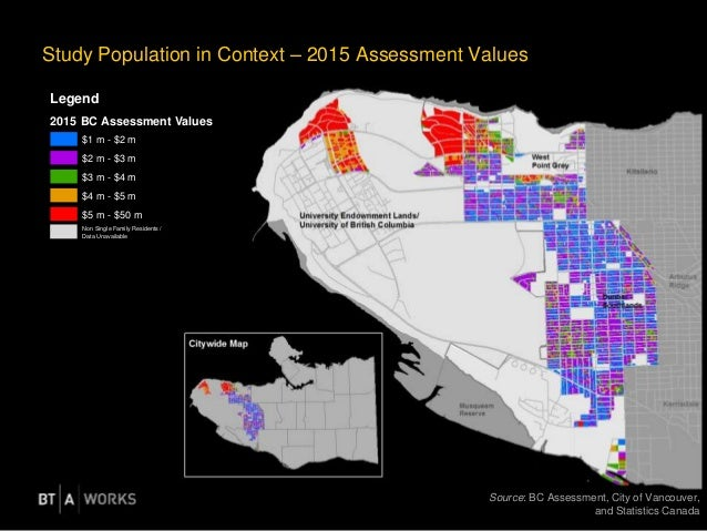 Study Population in Context – 2015 Assessment Values Source: BC Assessment, City of Vancouver, and Statistics Canada Legen...