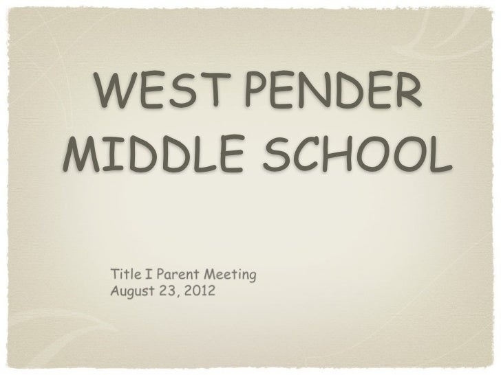 WEST PENDERMIDDLE SCHOOL