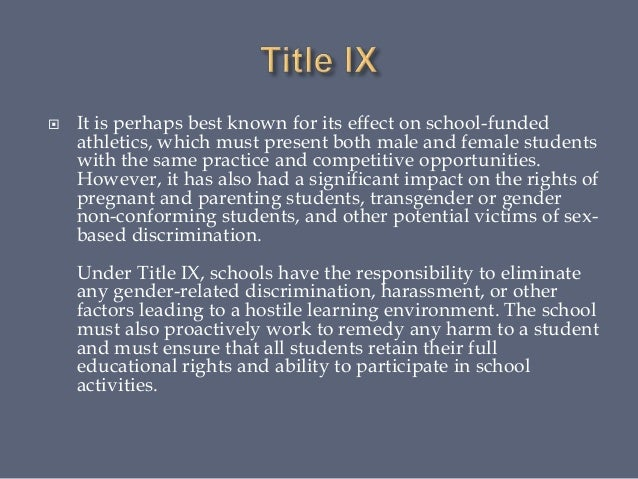 the impact of title ix In june of 1972, congress passed a piece of legislation called title ix of the   room to the locker room, women are making their mark via the impact of title ix.
