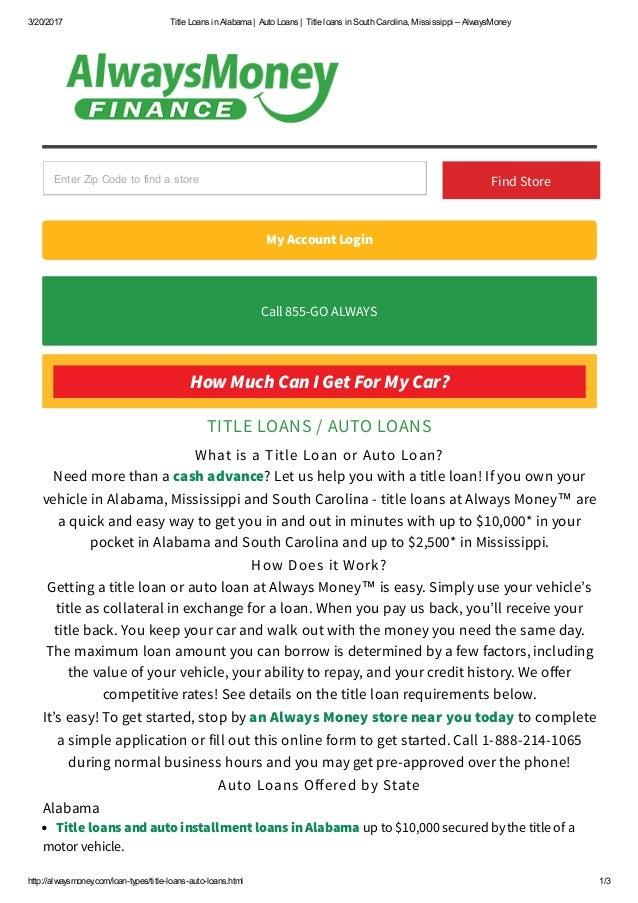 Title Loans In Alabama Title Loans In South Carolina Mississippi Al