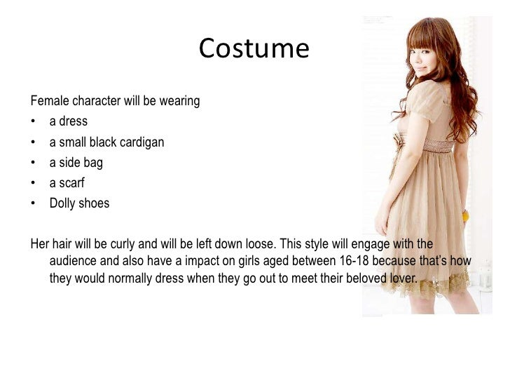 Costume<br />Female character will be wearing <br />a dress  <br />a small black cardigan <br />a side bag <br />a scarf<b...