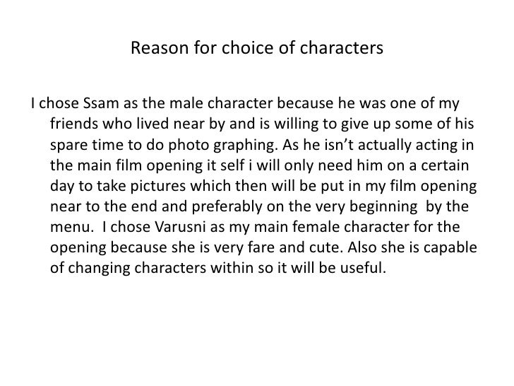 Reason for choice of characters<br />I chose Ssam as the male character because he was one of my friends who lived near by...