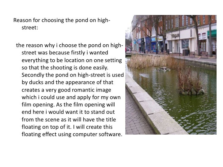 Reason for choosing the pond on high-street:<br />  the reason why i choose the pond on high-street was because firstly i ...