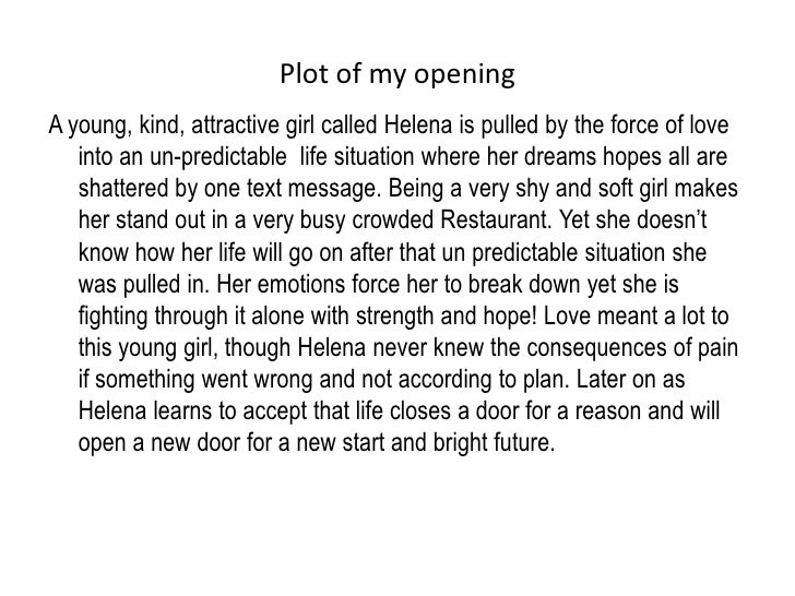 Plot of my opening<br />A young, kind, attractive girl called Helena is pulled by the force of love into an un-predictable...