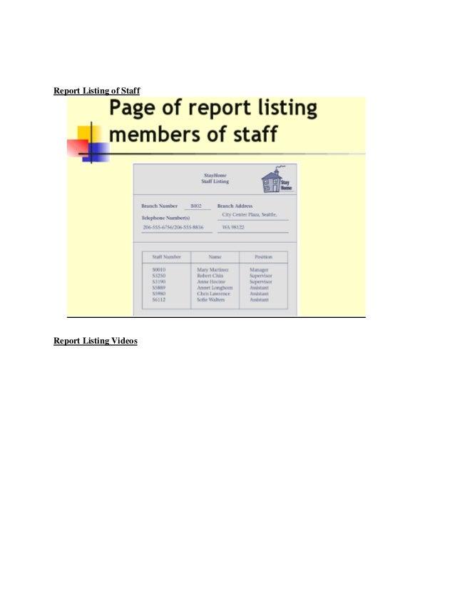 Report Listing of StaffReport Listing Videos