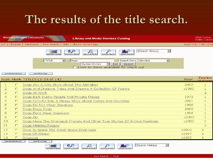 The results of the title search.