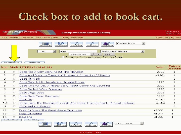 Check box to add to book cart.