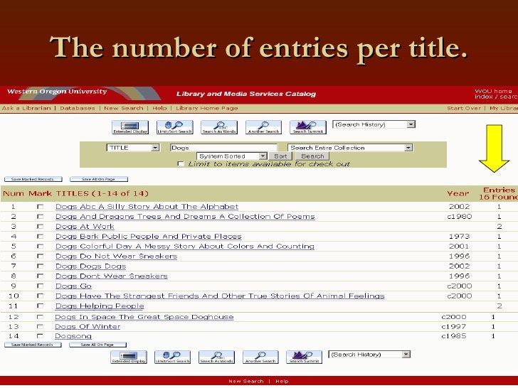 The number of entries per title.