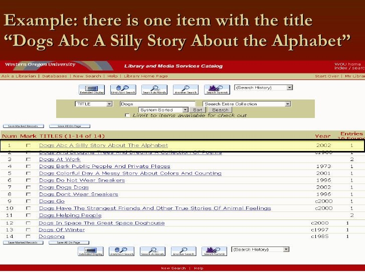 """Example: there is one item with the title """"Dogs Abc A Silly Story About the Alphabet"""""""