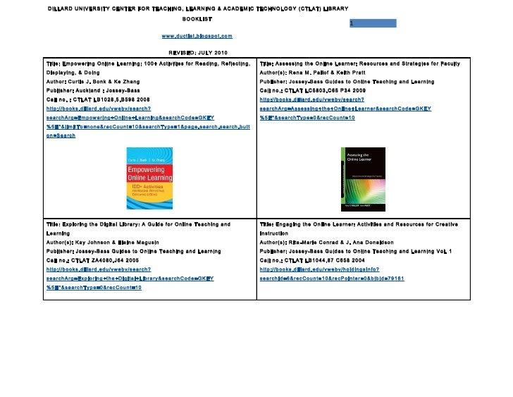 DILLARD UNIVERSITY CENTER FOR TEACHING, LEARNING & ACADEMIC TECHNOLOGY (CTLAT) LIBRARY                                    ...