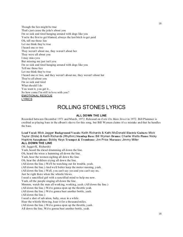THE ROLLING STONES - AROUND AND AROUND LYRICS