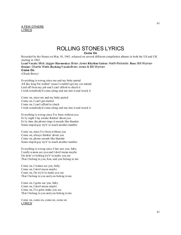 Titles rolling stones lyrics a z numbered