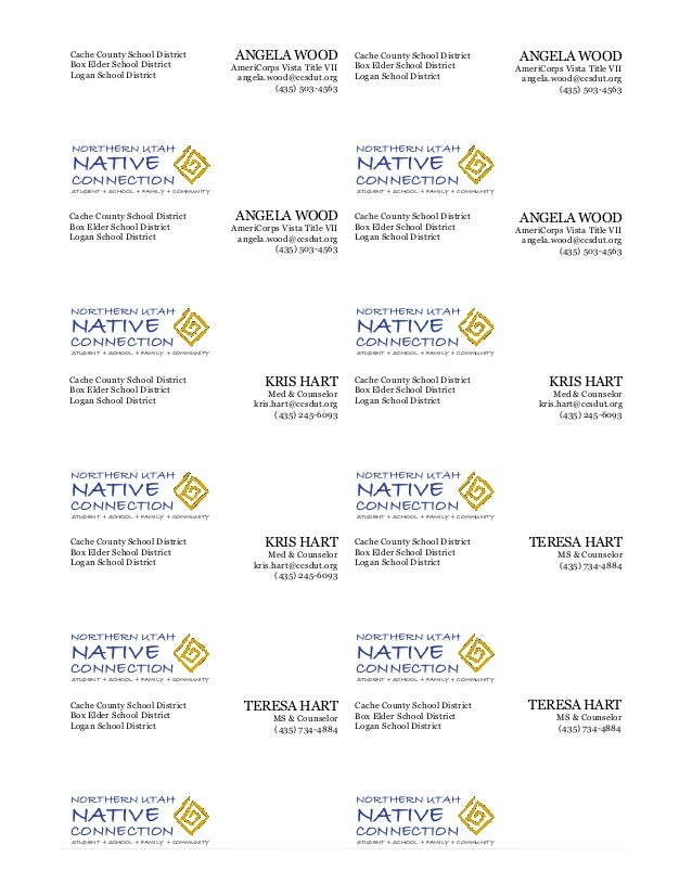 Northern Utah Native Connection Business Cards