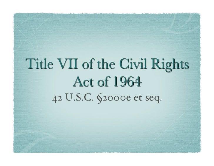 42 U.S.C. §2000e et seq.!