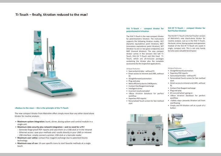 Ti-Touch – finally, titration reduced to the max!