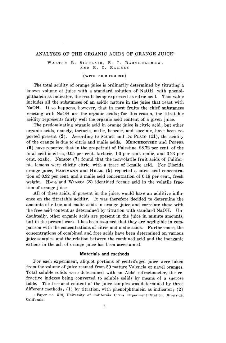 ANALYSIS OF THE ORGANIC ACIDS OF ORANGE JUICE           WALTON      B.   SINCLAIR, E. T. BARTHOLOMEW,                     ...