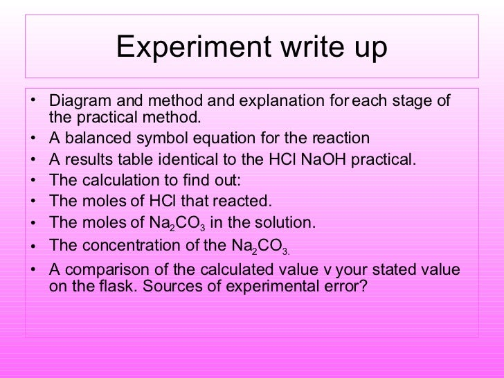 titration experiment write up Titration experiment - write up extracts from this document introduction to  analyse a solution of dilute sulphuric acid and calculate the concentration of acid  it.