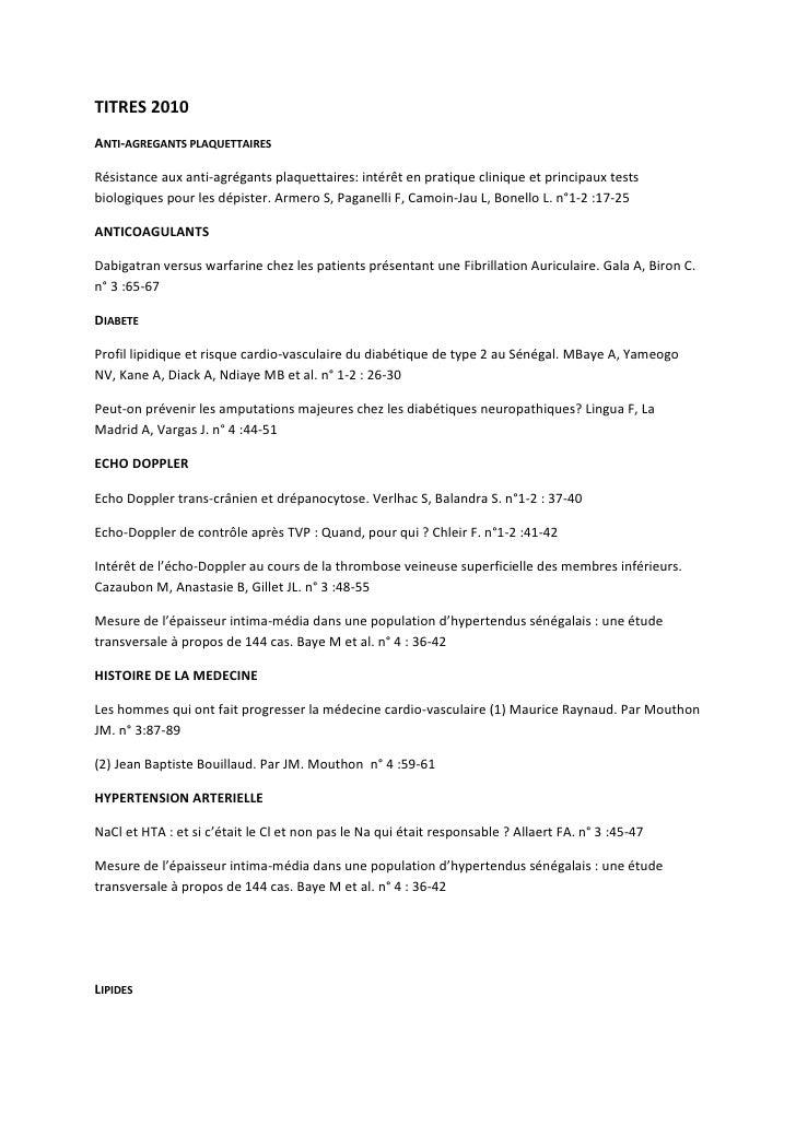 Titres et auteurs 2010