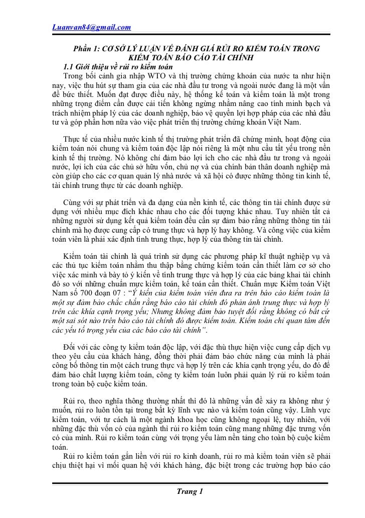 Luanvan84@gmail.com       Phần 1: CƠ SỞ LÝ LUẬN VỀ ĐÁNH GIÁ RỦI RO KIỂM TOÁN TRONG                         KIỂM TOÁN BÁO C...