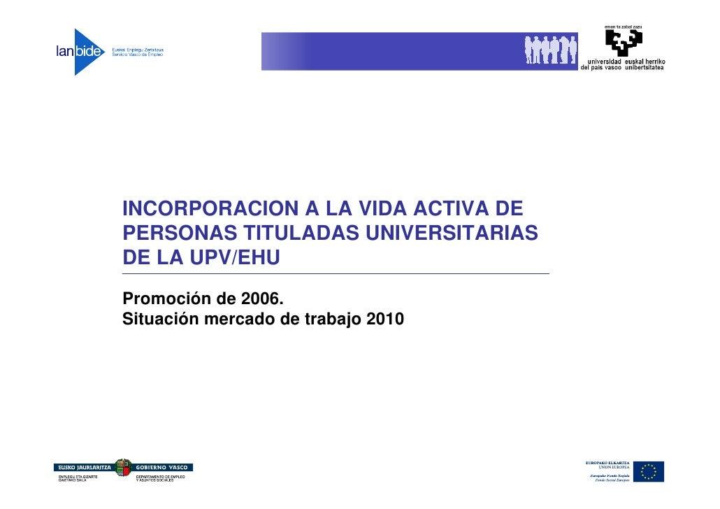 INCORPORACION A LA VIDA ACTIVA DE PERSONAS TITULADAS UNIVERSITARIAS DE LA UPV/EHU Promoción de 2006. Situación mercado de ...