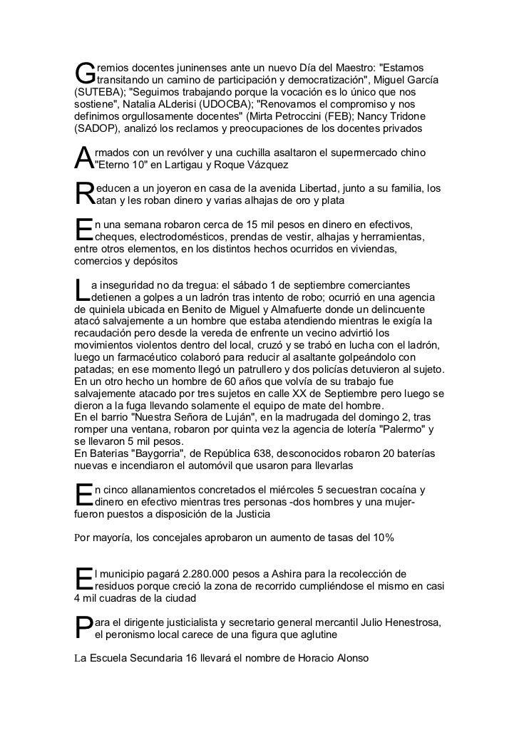 """G    remios docentes juninenses ante un nuevo Día del Maestro: """"Estamos     transitando un camino de participación y democ..."""
