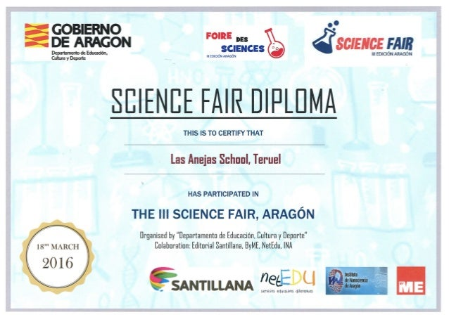 Titulo science fair aragon for Stem certificate template