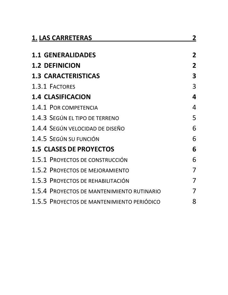 1. LAS CARRETERAS                            21.1 GENERALIDADES                            21.2 DEFINICION                ...