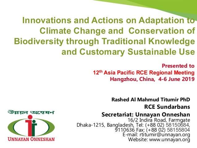 Rashed Al Mahmud Titumir PhD RCE Sundarbans Secretariat: Unnayan Onneshan 16/2 Indira Road, Farmgate Dhaka-1215, Banglades...