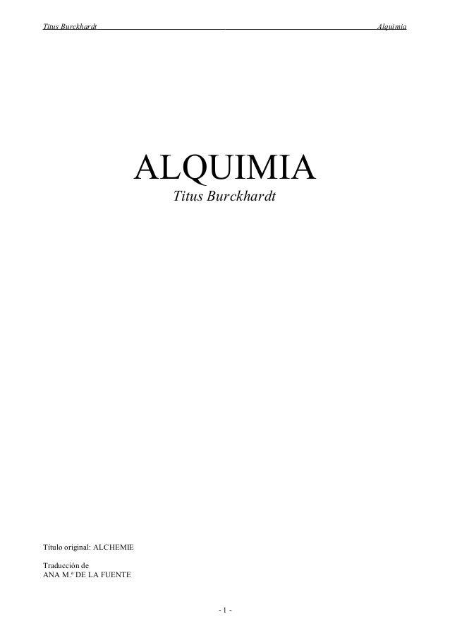 Titus Burckhardt                               Alquimia                        ALQUIMIA                            Titus B...