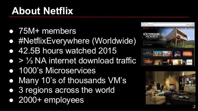 About Netflix ● 75M+ members ● #NetflixEverywhere (Worldwide) ● 42.5B hours watched 2015 ● > ⅓ NA internet download traffi...
