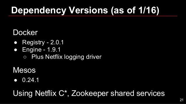 Dependency Versions (as of 1/16) Docker ● Registry - 2.0.1 ● Engine - 1.9.1 ○ Plus Netflix logging driver Mesos ● 0.24.1 U...