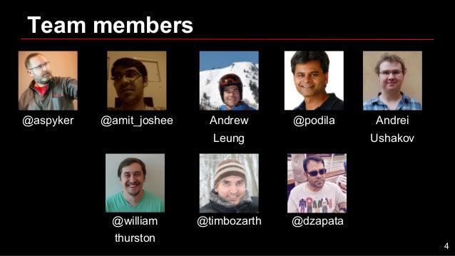 Team members @aspyker @amit_joshee Andrew Leung @podila Andrei Ushakov @william thurston @timbozarth @dzapata 4