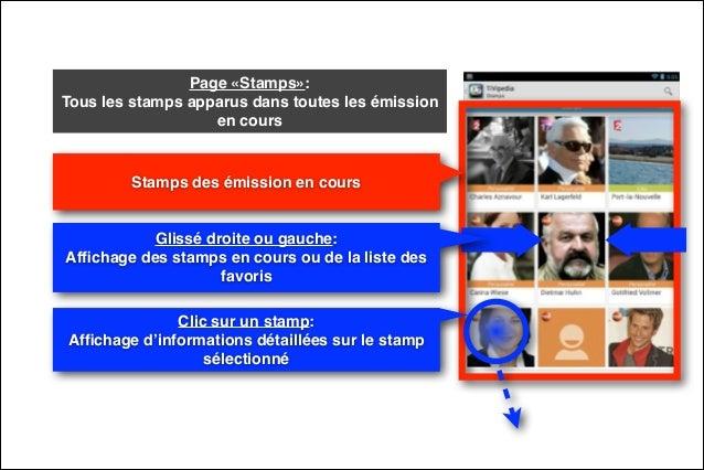 Page «Stamps»:  Tous les stamps apparus dans toutes les émission en cours  Stamps des émission en cours  Glissé droite ou...