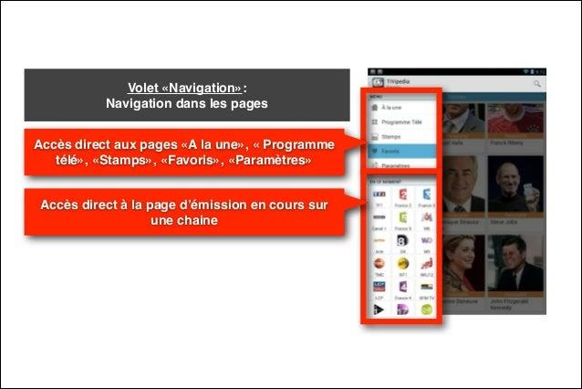 Volet «Navigation»:  Navigation dans les pages Accès direct aux pages «A la une», « Programme télé», «Stamps», «Favoris»,...