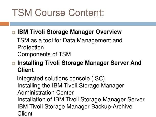 Tivoli storage manager online training