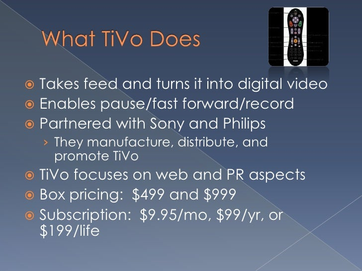 an overview of tivo Tivo attracted my attention this past week, as it seemed to be shrinking yet commanding a fair to high valuation and celebrating a new dividend i found a possi.