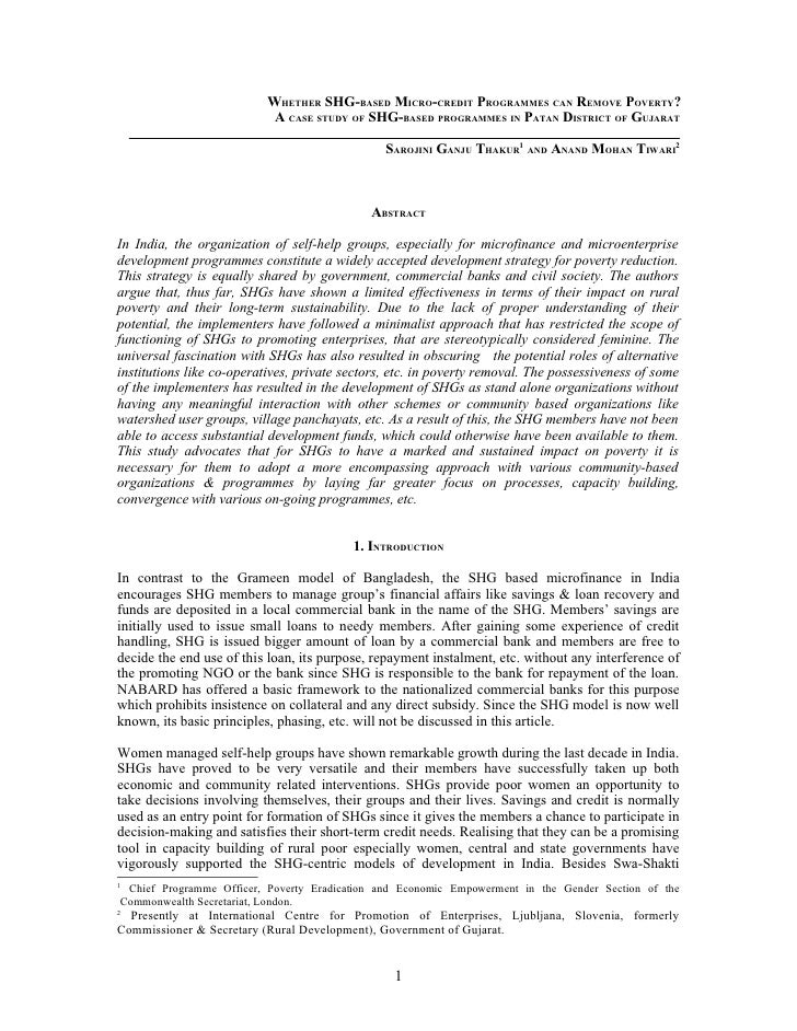 WHETHER SHG-BASED MICRO-CREDIT PROGRAMMES CAN REMOVE POVERTY?                             A CASE STUDY OF SHG-BASED PROGRA...