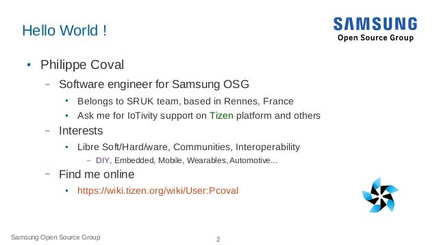 IoT: From Arduino Microcontrollers to Tizen Products using IoTivity Slide 2
