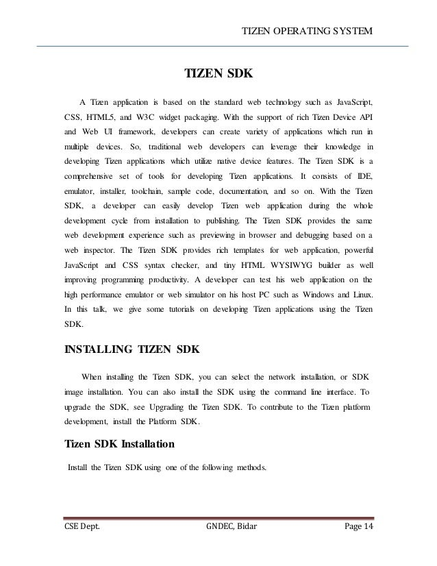 Tizen os seminar report