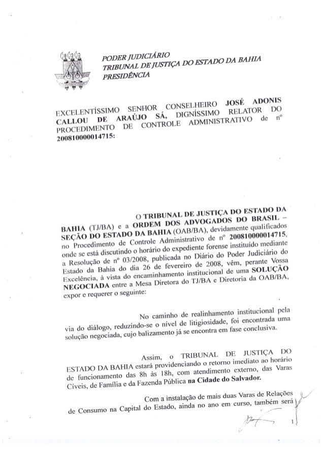 Acordo de 2008 entre TJ-BA e OAB-BA sobre o Turnão