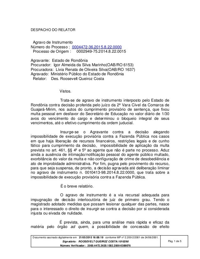 Documento assinado digitalmente em 21/05/2015 16:08:19 conforme MP nº 2.200-2/2001 de 24/06/2001. Signatário: ROOSEVELT QU...