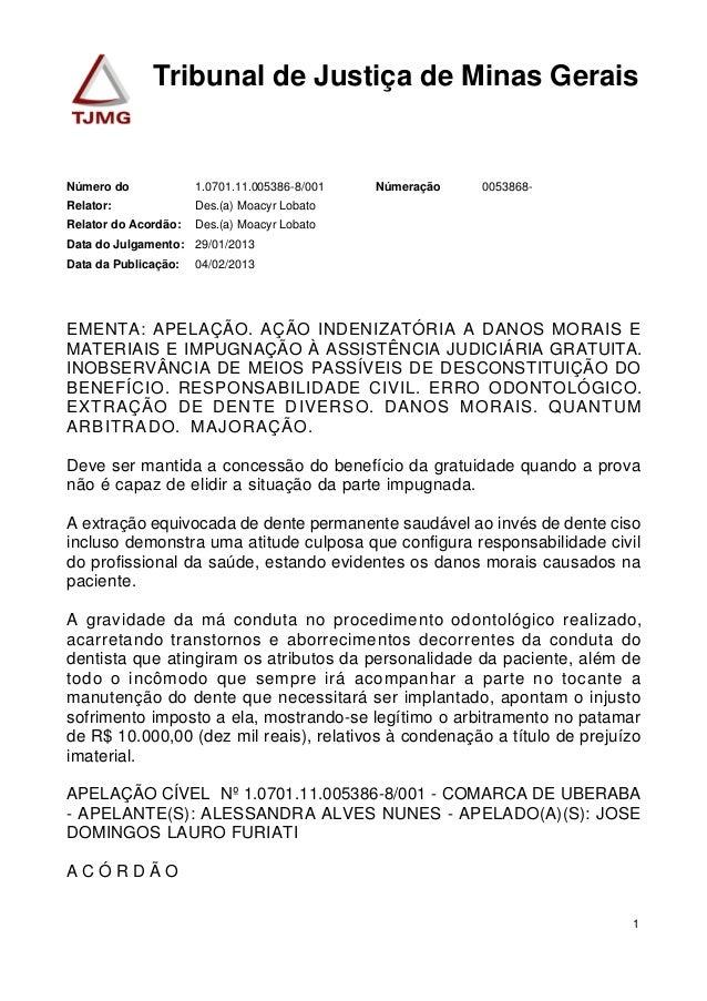 Tribunal de Justiça de Minas Gerais  Número do 1.0701.11.005386-8/001 Númeração 0053868-  Relator: Des.(a) Moacyr Lobato  ...