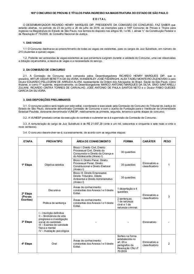 185º CONCURSO DE PROVAS E TÍTULOS PARA INGRESSO NA MAGISTRATURA DO ESTADO DE SÃO PAULO E D I T A L O DESEMBARGADOR RICARDO...