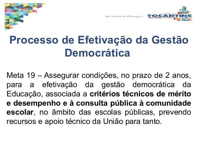 Processo de Efetivação da Gestão Democrática Meta 19 – Assegurar condições, no prazo de 2 anos, para a efetivação da gestã...